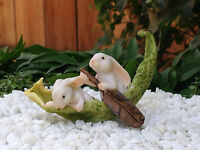 Miniature Dollhouse Fairy Garden Twin Bunny Rabbits Rowing A Leaf Boat