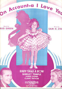 """Ausdrucksvoll Baby Take A Bow Sheetmusic """" Auf Accout-a I Love You """" Shirley Tempel Claire Musikinstrumente"""
