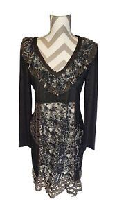 Kessley-Dress-Black-Gray-Floral-Lg-Pattern-Distressed-V-Neck-Ruffles-Long-Sleeve