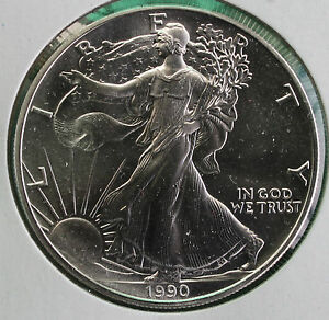 1990-BU-American-Silver-Eagle-Dollar-Uncirculated-ASE-US-Mint-Bullion-1-Coin