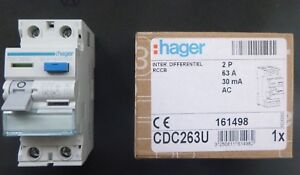 Hager RCD 63 Amp 30mA Double Pole 63A RCCB 161498 CDC263U NEW IN BOX (BSEN61008) 3250611614982
