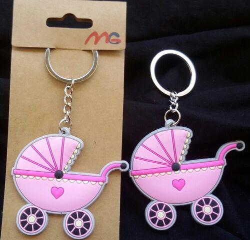 12-Baby-Shower-Favors-Key-Chains-Girl-Stroller-Carriage-Pink-Llaveros-Niña