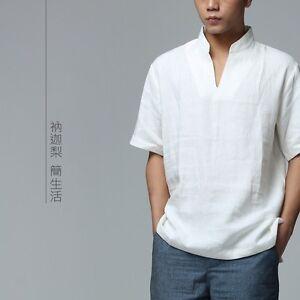 Mens casual shirt short sleeve linen white chinese for Mens short sleeve linen dress shirts