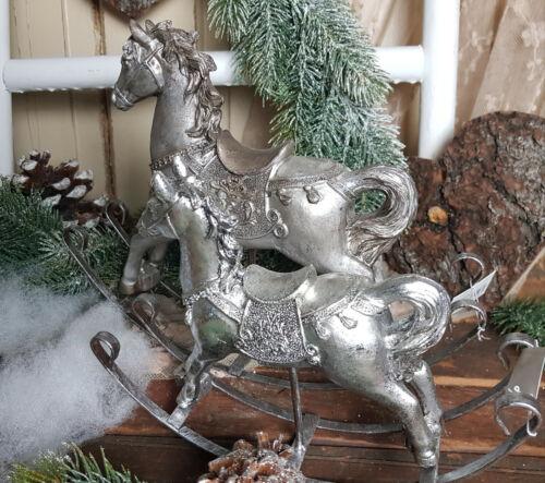 Schaukelpferd Antiksilber Weihnachten Nostalgie Shabby Vintage Landhaus 2 Größen