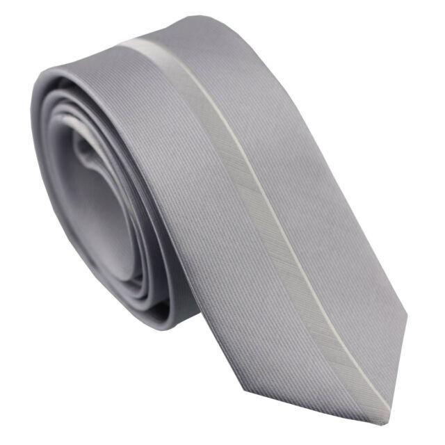 Coachella Ties Silver Vertical Stripe Panel Design Necktie Microfiber Skinny Tie