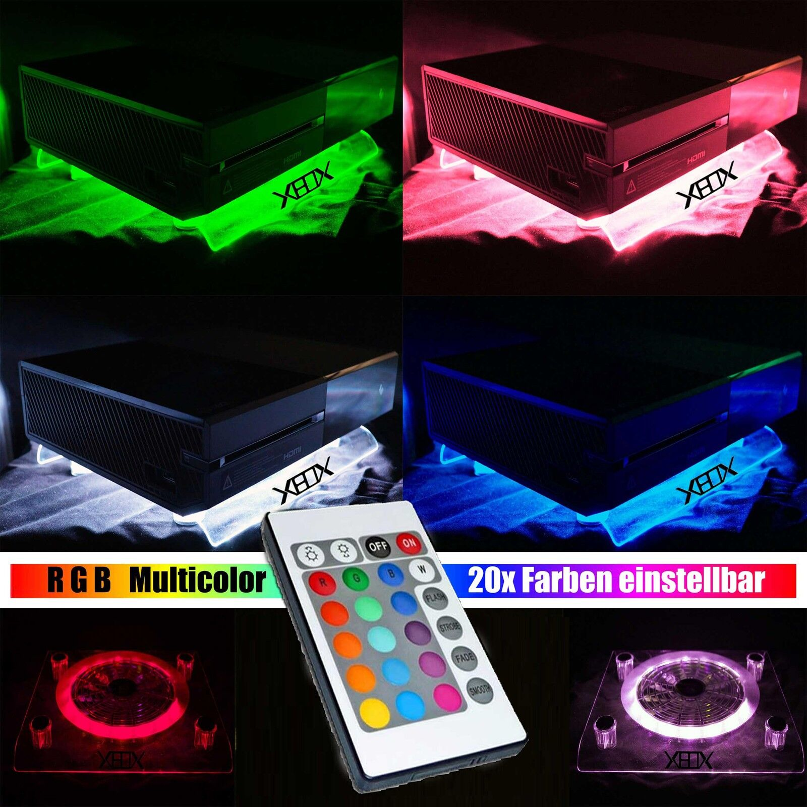 RGB USB Design Cooler Cooling Fan Pad + IR Remote controller Stand Xbox One 360
