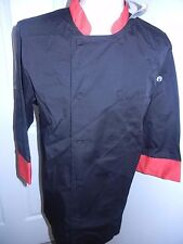 Chef Works Color Essential 34 Sleeve Morocco Chef Coat 3xl Black Red New