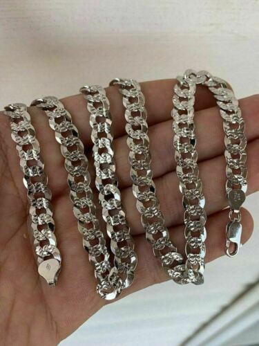 Men/'s Diamond Cut Miami Cuban Link Chain Solid 925 Sterling Silver 8mm Italy