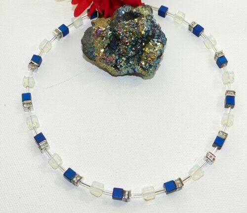 Halskette Würfelkette Perlen Hämatit blau Glas  Opalith facettiert Strass 064d