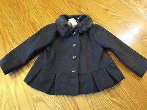 9000c6d5427f Gymboree CITY KITTY Black Fur Collared Jacket BABY GIRL SIZE 12- 24M ...