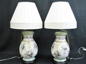 Elegant Pair of Old Paris Porcelain Painted Vases Mounted As Table Lamps C. 1860