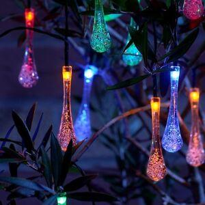 Teardrop Christmas Lights.Details About Auraglow Set Of 20 Crystal Teardrop Garden Outdoor Led Solar String Lights