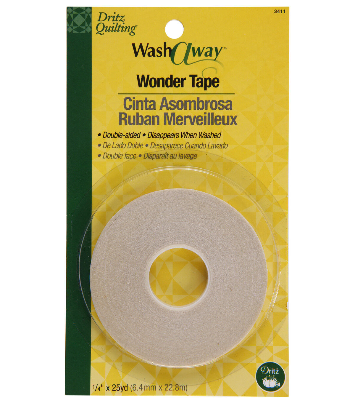 Double-Sided Wash Away Quilters Tape Sewing Tape 2 Rolls 1//4-Inch by 22-Yard