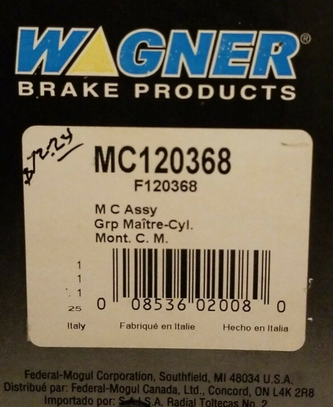 Wagner MC120368 Premium Master Cylinder Assembly,