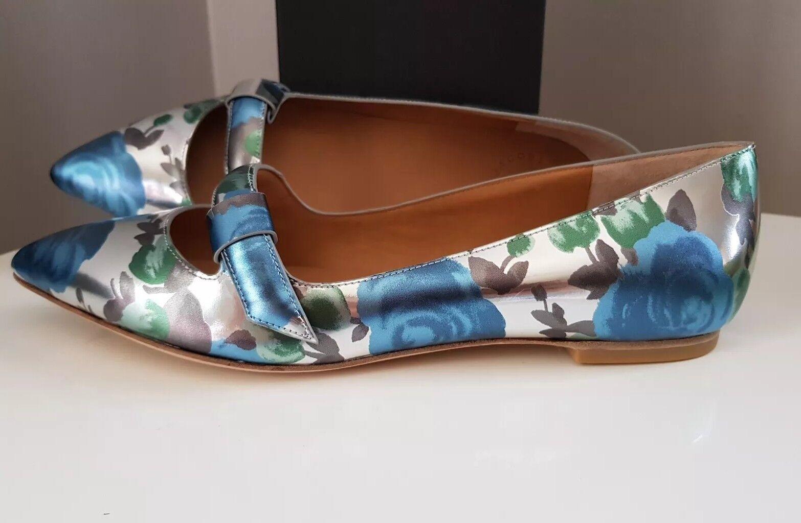 Marc Jacobs Argent Métallisé Fleuri Bleu Plat Pompes Chaussures UK6 EU39 US9
