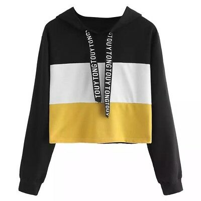 Black White Yellow Oversized Patchwork Crop Top Hoodie Large