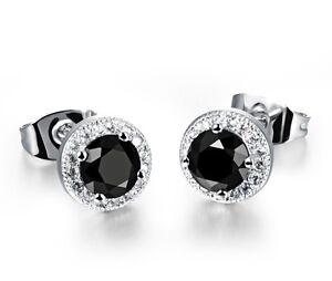 Image Is Loading 8mm Men Women Sterling Silver Black Round Cubic