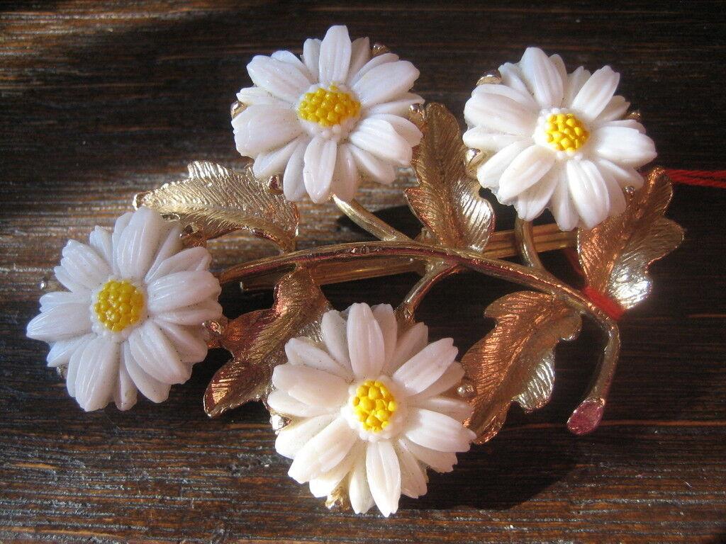 SUPER BELLA MAGNIFICA ANTICA ANTICA ANTICA SPILLA con quattro plastico fiori fuori uso 66c49c