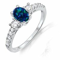 Ocean Blue Oval Australian Fire Opal W Clear Cz Sterling Silver Ring