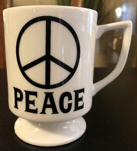 VINTAGE-PEDESTAL-PEACE-SIGN-PEACE-DOVE-MUG-Footed-GROOVY