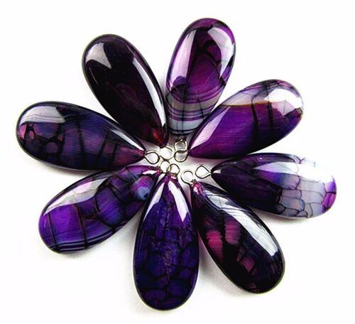 1 10PCS 30x15x7mm black purple dragon veins agate teardrop pendant bead Vk6142