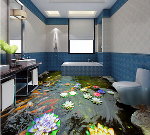 3D color Carp Lotus 8 Floor WallPaper Murals Wall Print 5D AJ WALLPAPER UK Lemon