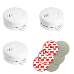 3er Set Rauchmelder inkl. Magnet Klebepads | Feuermelder 85db | Rauchwarnmelde