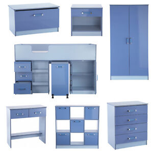 Kids Blue High Gloss Bedroom Furniture Sets Two Tone Boys Chest of ...