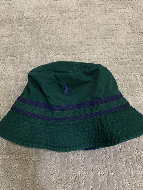 NEW Polo Ralph Lauren Classics Bucket Beach Golf Hat Green Blue Pony Size L/XL.