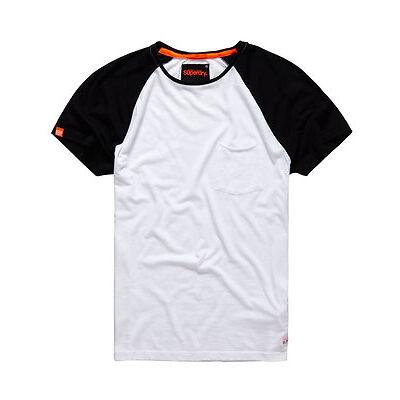 New Mens Superdry Lite Loomed Cut Curl Baseball T-shirt Optic