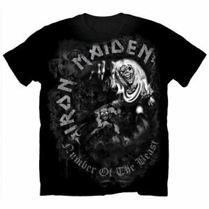 IRON-MAIDEN-Number-Of-The-Beast-Greytone-T-shirt-Sizes-S-to-XXL-New-amp-Official