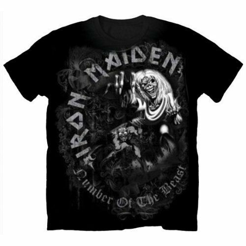 Official IRON MAIDEN Number Of The Beast Greytone T-shirt Black Sizes S to XXL
