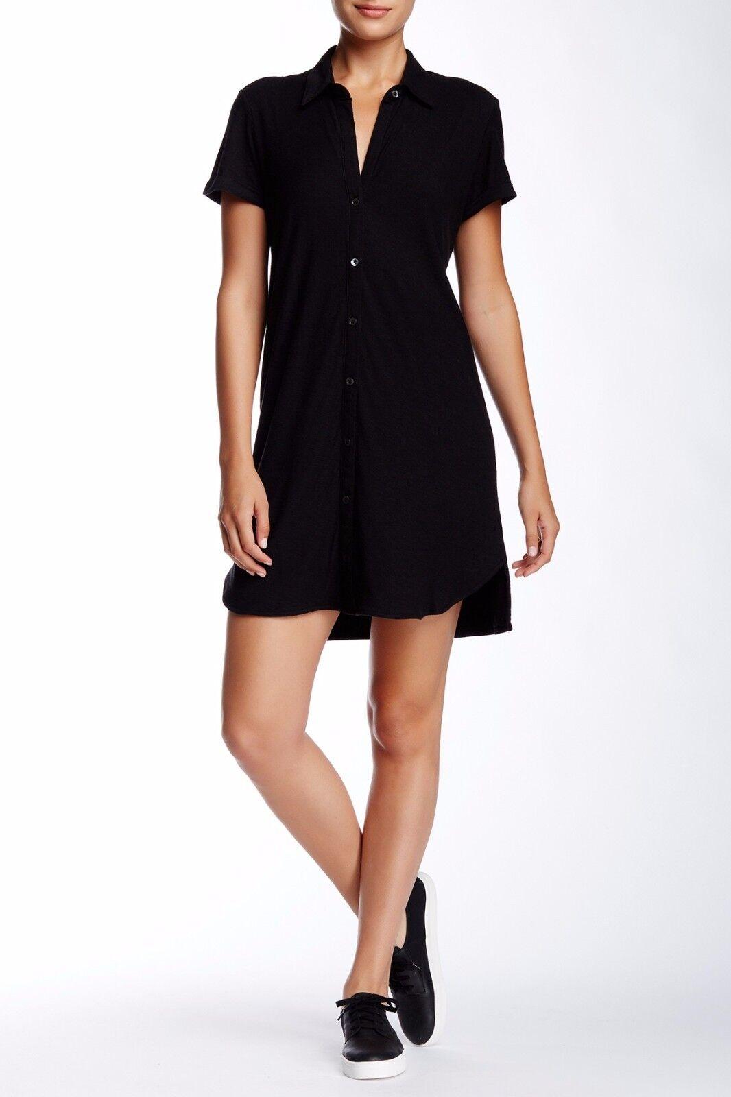 Nwt James Perse Sz4 (L XL) Kurzärmlig Shift Jerseyhemd Kleid Schwarz