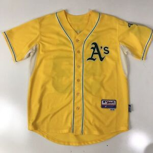 premium selection 5f547 6a538 Details about Authentic Oakland A's Alternate GOLD Cool Base Jersey  Athletics 48 Cahill
