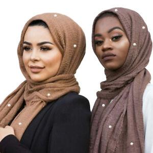 Women-Cotton-Hijab-Scarf-with-Pearl-Muslim-Ladies-Crinkle-Winkle-Hijabs-Scarves