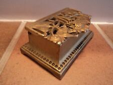 VINTAGE BRASS CAST ARTS/CRAFTS ART NOUVEA POSTAL STAMP BOX - LOVELY ORNATE ITEM.