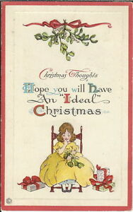 Christmas Thoughts.Ba 099 Christmas Thoughts Woman With Gifts 1907 1915