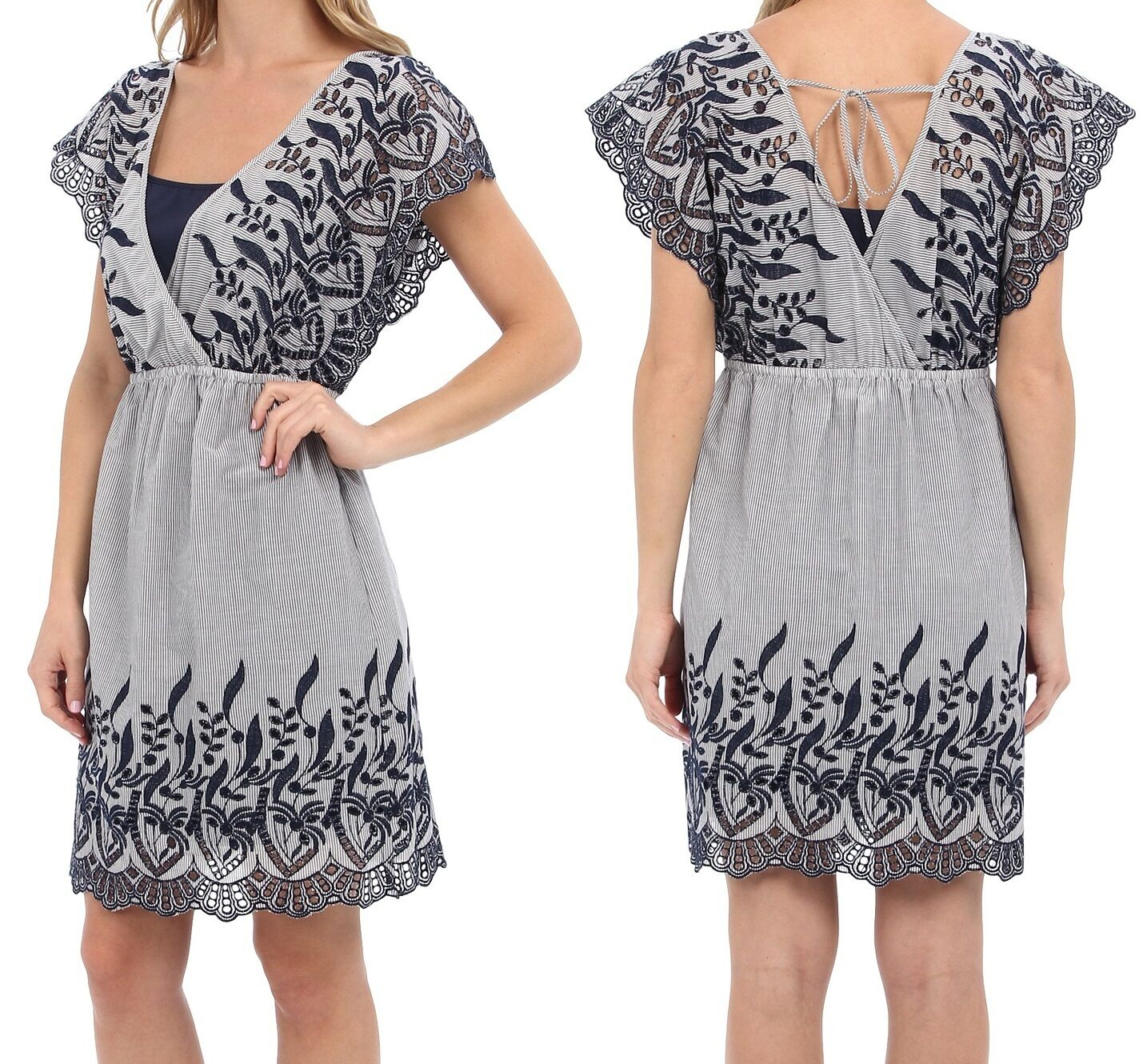 Vince Camuto bluee Night Cotton Striped Crochet Embroidered Dress - MSRP