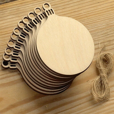 10 Pcs Wooden Round Bell Hanging Christmas Tree Blank Decorations Gift Tag Shape