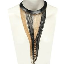 Halsband Collier Choker Kunstleder Barock Schwarz Gold