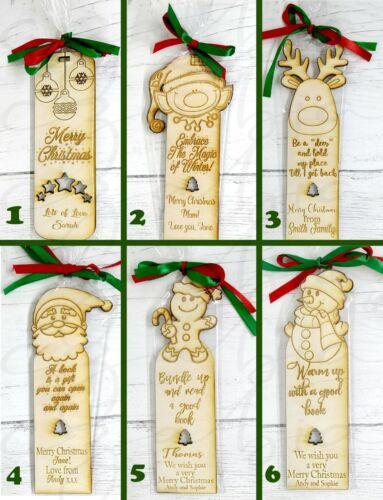 Personnalisé en bois Noël signets cadeau design 6 Santa Arbre Hiver
