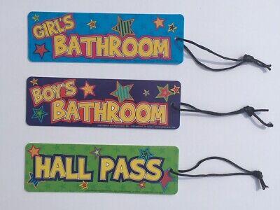 Girl/'s Boy/'s Hall Pass Bathroom School Teacher Classroom Teaching Supplies Lot