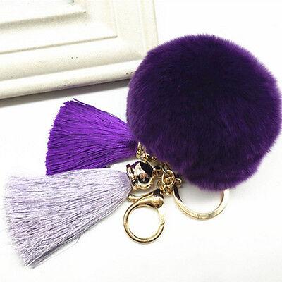 Keyring Fluffy Rabbit Fur Ball HandBag Pendant Charm Ball Tassel Pompom Keychain