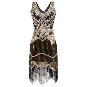 1920 S Gatsby Charleston Garconne Sequin Pampilles Or Noir Robe De Soiree Uk 10 16 Ebay