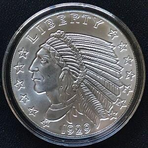 1 OZ .BU.COPPER ROUND 1929 INCUSE INDIAN
