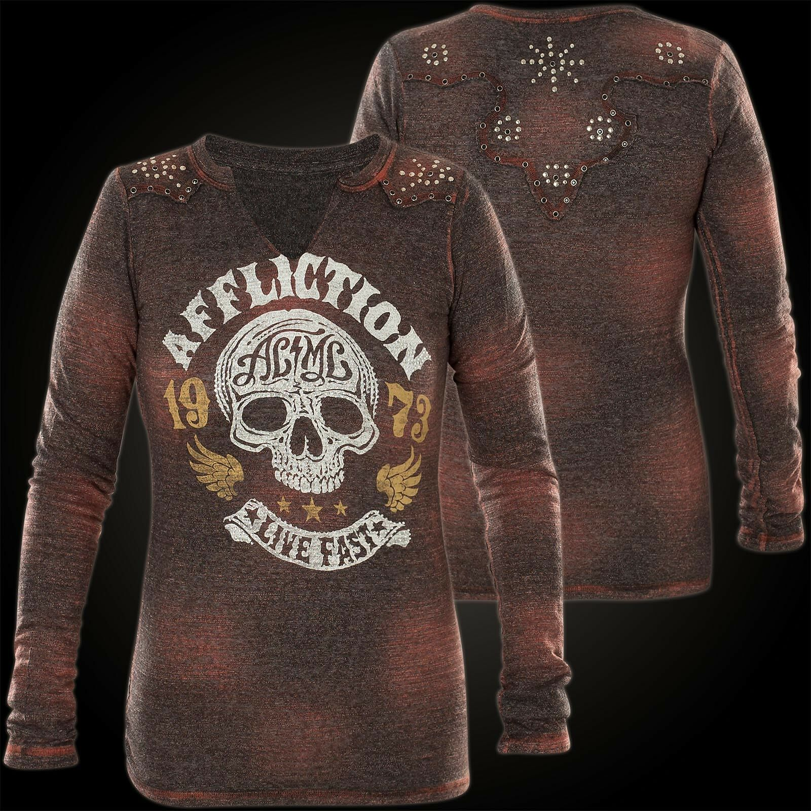 Affliction Donna Pullover Haunted HIGHWAY GRIGIO ROSSO