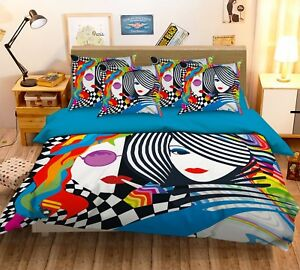 3D-Doodle-Girl-676-Bed-Pillowcases-Quilt-Duvet-Cover-Set-Single-Queen-AU-Carly