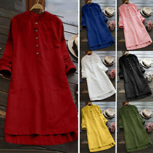 Lady-Women-Button-Long-Sleeve-Loose-Tops-Blouse-Casual-T-Shirt-Mini-Shirt-Dress