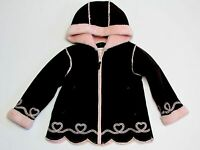 Izzi Kids By S Rothschild Girls Coat Size 24m Brown Faux Suede W/pink Fur Lining
