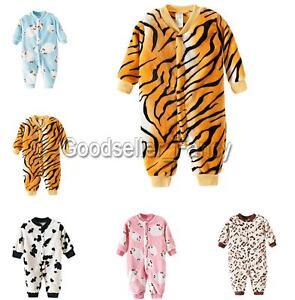 Infant Baby Boys Girls Animal Print Romper Bodysuit Winter ...